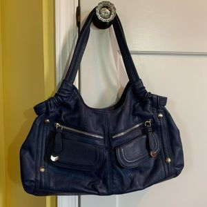 B. Makowski navy blue leather shoulder bag EUC
